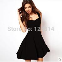 Fashion Party Dresses Women Sexy Mini Club Evening Dress Black Bust Package V-Neck Tank Top Slim Elastic Waist Vestidos D379