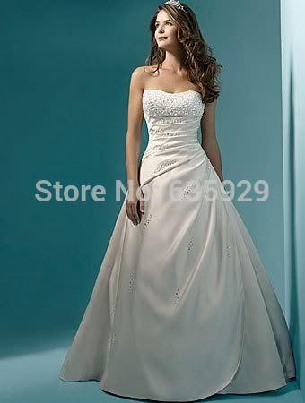 Preço barato 2014 Nova Beading Uma linha sem alças, com Lace Train Up volta Branco / Marfim vestidos de casamento(China (Mainland))