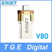 Eaget V80 16G/32G/64G USB 3.0 Flash Drive Smartphone OTG U Disk Dual Plug High Speed Waterproof Encryption UDP for Phone Tablet