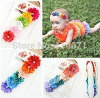 Free Shipping (20pcs/Lot) 2014 Baby Girl Colorful Flower Headband Newborn Infant Hair Bands Girl Hair Children Hair Accessories