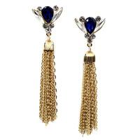 2014 New Arrival statement crystal long stud Earrings for women tassel earring wholesale 10CM length