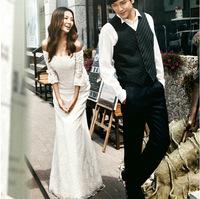2014 latest Korean version of The Princess Bride word shoulder fishtail trailing long-sleeved wedding dress in summer