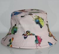 print butterfly outdoor women flat fishing caps hip hop mens Bucket Hats colourful