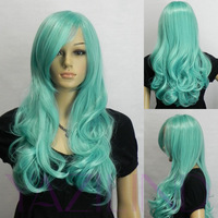 Medium Long Curly Wavy Blue Mix Ramp Bangs Synthetic Hair Full Wig Cosplay