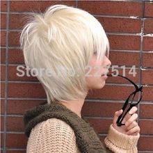 CO .MXJ01456W >!New fashion Korean handsome boy short Platinum Blond hair Men's Anime COS wig