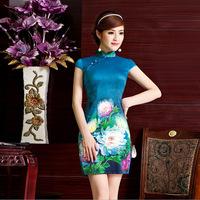 Improved cheongsam fashion summer Slim retro digital flower stretch satin daily short paragraph Slim cheongsam dress