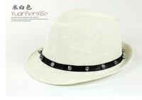 Summer men's cowboy hat rivets England Panama hat jazz hat