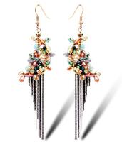 TIANSHE 2014 new brand Luxury jewelry with gift box  Austrian crystal bohemian style drop earring long tassels for women,994
