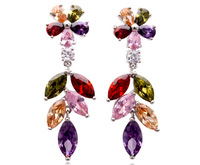 Free Shipping Factory Outlet Zircon Earrings Top Multicolor Zirconia Dangle Earring Jewelry Christmas Gifts Accessories
