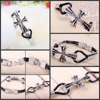 NEW Cross alloy hand woven leather fashion bracelet   002