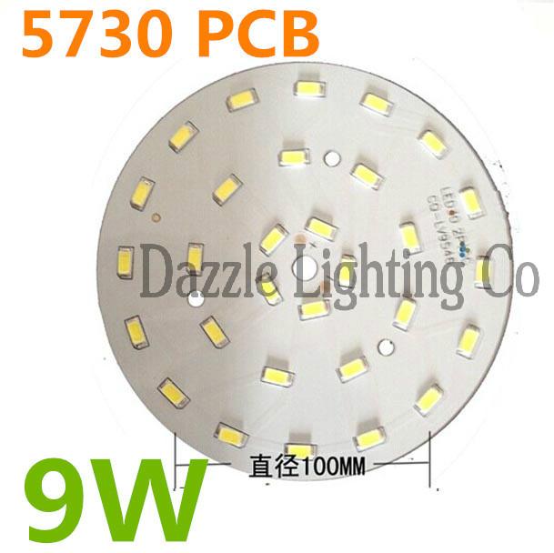 High quality 100mm Round White 9W PCB light source 18pcs*0.5W 5730 light board (PCB led module(China (Mainland))