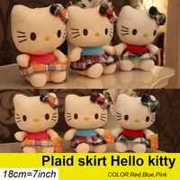 18CM 7''Lovely Plaid skirt HelloKitty cat plush toy Doll Cartoon Animal Baby Toy for Children Gifts Wedding Gifts toys Hot sales