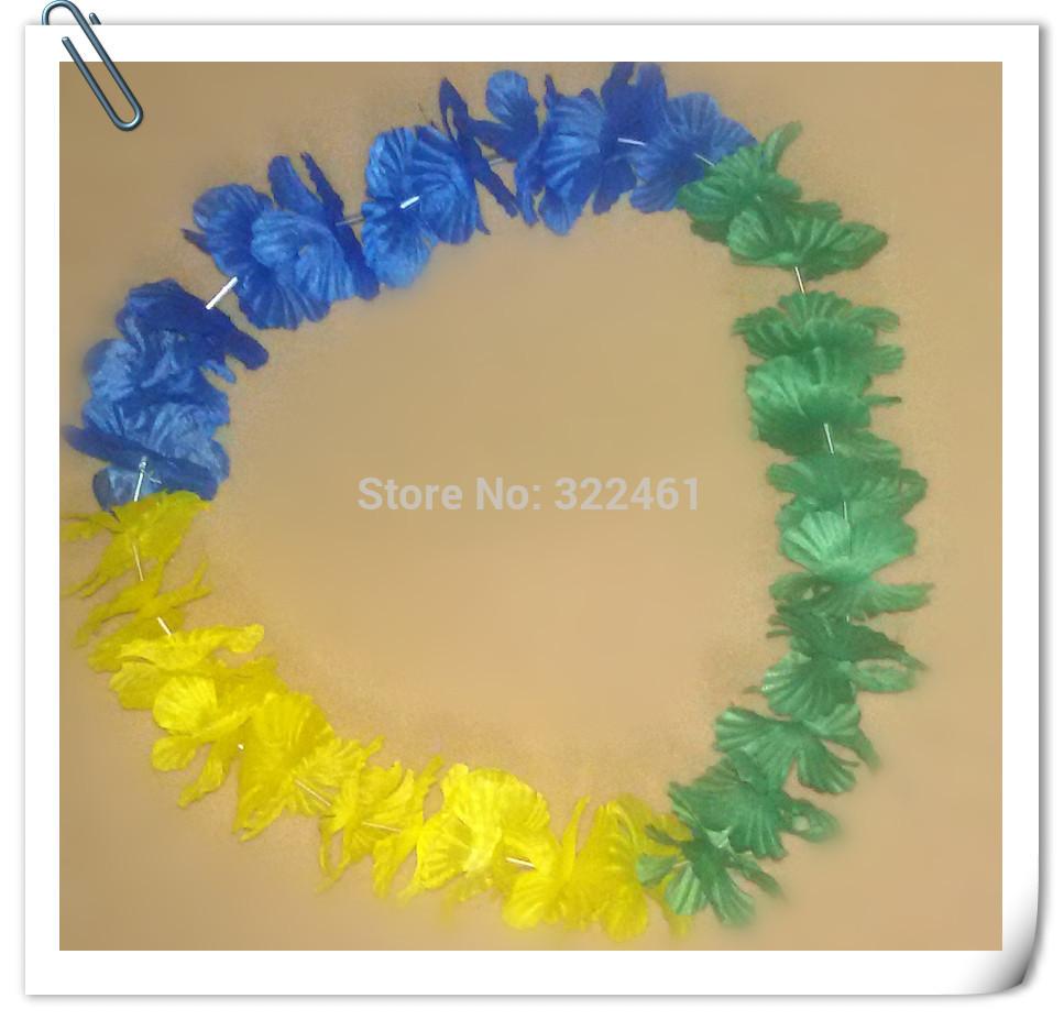 10 pçs/lote grátis frete bandeira brasil cor havaí colar festividades & Party supplies festa flor havaiana lei(China (Mainland))