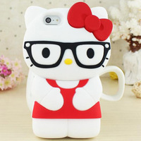 New 3D HELLO KITTY Nerd wit Glasses Silicone Rubberized Gel Cute Back Case Cover For Samsung Galaxy S3/S4/S5/i9300 waterproof