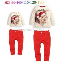 Free shipping,Baby girl's clothing set children's clothing fashion christmas cat long-sleeve t-shirts + pants 2pcs set Kids set