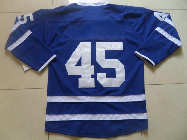 Hockey Jerseys Maple Leafs #45 Jonathan Bernier Premier Jersey Navy Blue Brand Players Sportwear Cheap Mens Outdoor Apparel Team(China (Mainland))