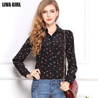 2014 women's fashion camisete feminina New women summer printing long sleeve loose chiffon blouses&shirts woman clothes