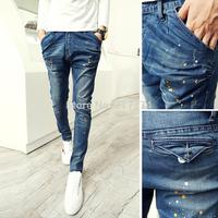 Free shipping 2014 new fashion brand mens slim jeans men harem pants skinny jeans pants hanging crotch pants