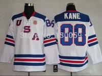 2010 Olympic Team USA 88 Patrick Kane White Ice Hockey Jerseys Embroidery Logos Size 48-56