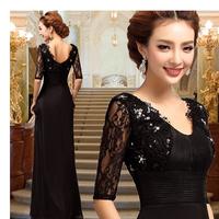Sexy V-neck half sleeve floor-length backless black lace long evening dress 2014 new fashion formal dresses XS-3XL