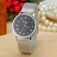 2 Colors New Fashion Women Dress Watch Silver Band Geneva Watch Ladies Quarzt Watch AW-SB-1154