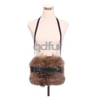 2014 Ladies' Genuine Natural Raccoon Fur Shoulder Bags Women Fur Handbags Hand Accessories QD30542