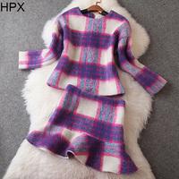 Women Fashion Elegant Wool Plaid Top + Pencil Ruffles Skirt two pieces Clothing Set,Ladies Brand Twinset 2014 Autumn Winter New