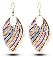 Top Quality 2014 Multicolor Leaf Austrian Crystal Exaggerated Long Drop Earrings Bohemian Fashion Metal Chain Tassel Earring,971