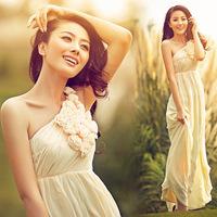 Waist Bra shoulder pale yellow chiffon bridal long dress special occasion dress evening dress sister dress auspices