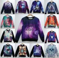 (Alice)2014 Autumn winter Fashion Men/Women's 3d Sweatshirts print STARRY NIGHT Space/galaxy cotton 3d fleece hoodies