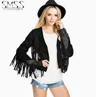 SMSS Street Fashion Sexy Women Leather Jacket Motorcycle Pu Coat Autumn Slim PU Patchwork Tassel Female Short Jacket Outerwear