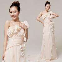 Annual Meeting chiffon one shoulder pleated handmade flower evening dress fashion long one shoulder dress