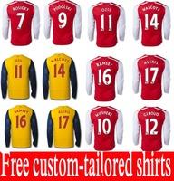 Top Thai quality 2015 long sleeve Soccer Jersey ALEXIS OZIL WILSHERE RAMSEY GIROUD CAZORLA WALCOTT 14 15 home&away Jerseys short