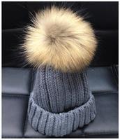 New Arrival 2014 HOT Women's Winter Warm Wool Crochet Fur REAL Pumpum BIG Ball Knitting Hats Beret Ski Beanies (8 Colors)