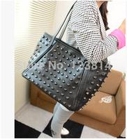 Fashion Korean Japan Style Desigual Women Casual Bags PU Leather Black Rivets Shopping Shoulder Bag Inner Pockets Bags N-JG 028