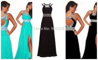 Cheap In stock Sexy Open Back Halter Charming Beaded Long Evening Dresses vestido de festa longo Evening Dress Party