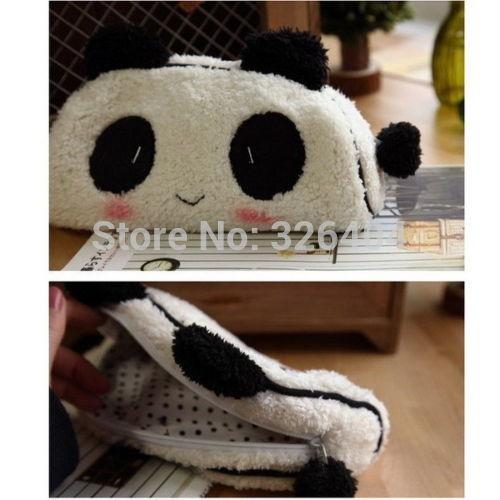 Panda Soft Plush Pencil Case Pen Pocket Cosmetic Makeup Zipper Bag Pouch OV(China (Mainland))