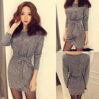 Hot Selling 2014 New Fashion Ladies long Batwing Sleeve Sweater Dress Women Plus size Gray Color slim Sexy Dresses