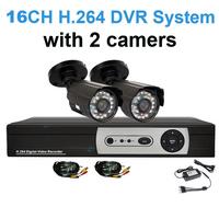 2 Channel 700TVL Bullet Outdoor Cameras CCTV System 16ch DVR 1080P HDMI Security Camera DIY kit