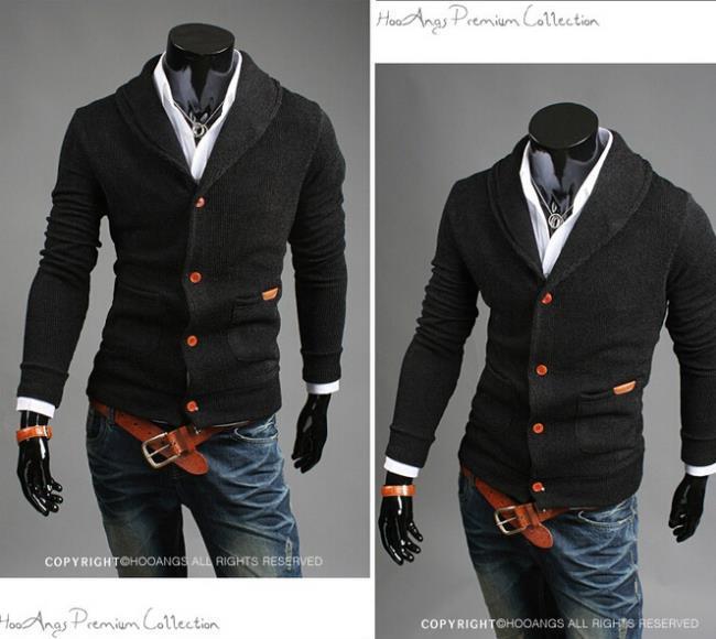 Pocket zipper wool cashmere sweater male outerwear cardigan Free