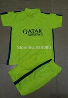 kids boy  SUAREZ I.RAKITIC 4 MASCHERANO light green Soccer uniform kits Jersey 14/15,Embroidery Logo  Soccer Shirt&short