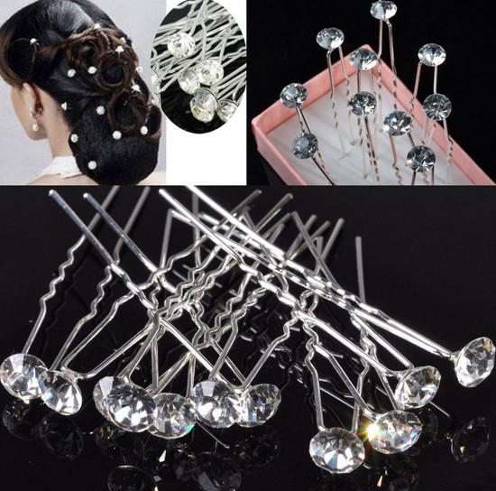 10pcs Lots New Princess Mini Crystal beads Wedding Bridal Tiara Hair Pins Clips Jewelry Drop Free(China (Mainland))