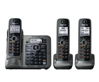 New Arrival KX-TG7643-3 Handsets DECT 6.0 Link-to-Cell via Bluetooth Cordless Phone with Answering System - Metallic Gray
