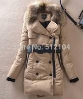 women's large fur collar slim fashion medium-long thickening down coat khaki orange black winter parkas outerwear