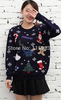 Женская пуловер сладкий женщины диких мультфильм дед мороз толщиной с длинными рукавами свитер женщина
