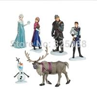 Free Shipping 6PCS/Set Hot Sell Frozen Anna Elsa Hans Kristoff Sven Olaf PVC Action Figures Toys Classic Toys