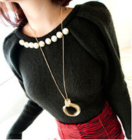 New Style Fashion Women Long Chain Sweater Necklace Alloy Metal Circle Pendant Necklace FN0383