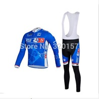 FREE SHIPPING!2014 new men's sports FDJ blue road ciclismo racing bicycle Cycling jersey maillot Bike clothing (bib) pants sets
