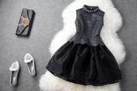 2014 Fashion Fake Piece Victoria Beckham Style Brand Women With Collar High Quality Black Lotus Leaf Edges Princess Prom Dress