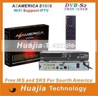 Original azamerica s1008 Brazil World Cup set top box IKS+SKS Support IPTV better than azamerica s1001 s1005 azbox titan